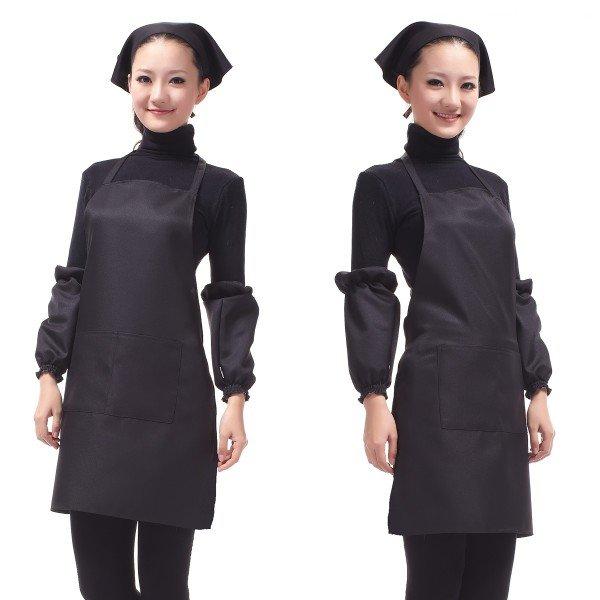 Tạp dề nấu bếp 2 túi màu đen